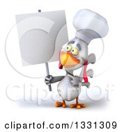 Poster, Art Print Of 3d White Chef Chicken Holding And Pointing To A Blank Sign