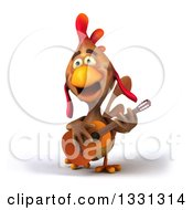 Clipart Of A 3d Brown Chicken Playing A Guitar 2 Royalty Free Illustration