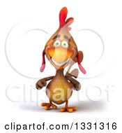 Clipart Of A 3d Happy Brown Chicken Walking Royalty Free Illustration