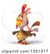 Clipart Of A 3d Happy Brown Chicken Walking Slightly To The Left Royalty Free Illustration