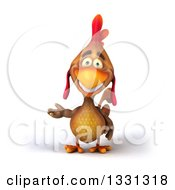 Clipart Of A 3d Happy Brown Chicken Presenting Royalty Free Illustration