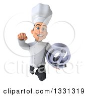 Clipart Of A 3d Young White Male Chef Flying With An Email Arobase At Symbol Royalty Free Illustration