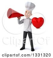 Clipart Of A 3d Young White Male Chef Hholding A Heart And Announcing With A Megaphone Royalty Free Illustration