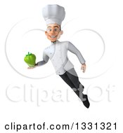 Clipart Of A 3d Young White Male Chef Flying And Holding A Green Bell Pepper Royalty Free Illustration
