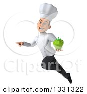 Clipart Of A 3d Young White Male Chef Flying Pointing And Holding A Green Bell Pepper Royalty Free Illustration
