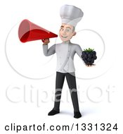 Clipart Of A 3d Young White Male Chef Holding A Blackberry And Announcing With A Megaphone Royalty Free Illustration