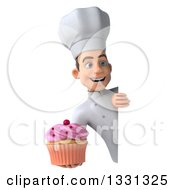 Clipart Of A 3d Young White Male Chef Holding A Pink Frosted Cupcake Around A Sign Royalty Free Illustration