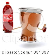 Clipart Of A 3d Beer Mug Character Giving A Thumb Up And Holding A Soda Bottle Royalty Free Illustration
