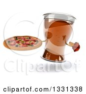 Clipart Of A 3d Beer Mug Character Holding And Pointing To A Pizza Royalty Free Illustration