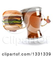 Clipart Of A 3d Beer Mug Character Holding Up A Finger And Double Cheeseburger Royalty Free Illustration