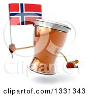 Clipart Of A 3d Beer Mug Character Shrugging And Holding A Norwegian Flag Royalty Free Illustration