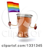 Clipart Of A 3d Beer Mug Character Giving A Thumb Up And Holding A Rainbow Flag Flag Royalty Free Illustration