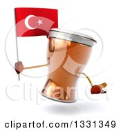 Clipart Of A 3d Beer Mug Character Shrugging And Holding A Turkish Flag Royalty Free Illustration
