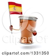 Clipart Of A 3d Beer Mug Character Holding And Pointing To A Spanish Flag Royalty Free Illustration