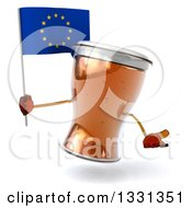 Clipart Of A 3d Beer Mug Character Shrugging And Holding A European Flag Royalty Free Illustration