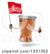 Clipart Of A 3d Beer Mug Character Giving A Thumb Up And Holding A Turkish Flag Royalty Free Illustration