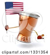 Clipart Of A 3d Beer Mug Character Shrugging And Holding An American Flag Royalty Free Illustration