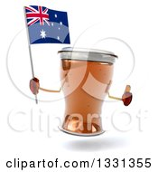Clipart Of A 3d Beer Mug Character Giving A Thumb Up And Holding An Australian Flag Royalty Free Illustration