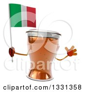 Clipart Of A 3d Beer Mug Character Jumping And Holding An Italian Flag Royalty Free Illustration
