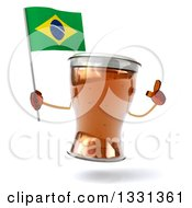 Clipart Of A 3d Beer Mug Character Holding Up A Finger And A Brazilian Flag Royalty Free Illustration