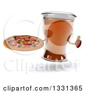 3d Beer Mug Character Giving A Thumb Up And Holding A Pizza