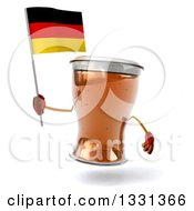 Clipart Of A 3d Beer Mug Character Holding A German Flag Royalty Free Illustration