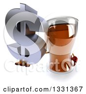 Clipart Of A 3d Beer Mug Character Holding Up A Dollar Symbol Royalty Free Illustration
