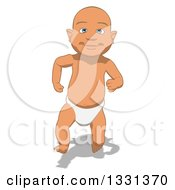 Clipart Of A Cartoon Happy White Baby Boy Sprinting Royalty Free Illustration