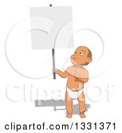 Clipart Of A Cartoon Happy White Baby Boy Holding Up And Pointing To A Blank Sign Royalty Free Illustration