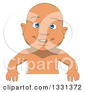 Clipart Of A Cartoon Happy White Baby Boy Smiling Over A Sign Royalty Free Illustration