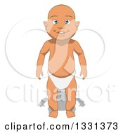Clipart Of A Cartoon Happy White Baby Boy Royalty Free Illustration