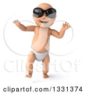 Clipart Of A 3d Happy White Baby Boy Wearing Sunglasses And Walking Royalty Free Illustration by Julos