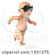 Clipart Of A 3d Happy White Baby Boy Wearing Sunglasses And Sprinting To The Right Royalty Free Illustration by Julos