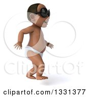 Clipart Of A 3d Black Baby Boy Wearing Sunglasses Facing Right And Walking Royalty Free Illustration