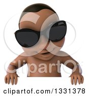Clipart Of A 3d Black Baby Boy Wearing Sunglasses And Looking Down Over A Sign Royalty Free Illustration