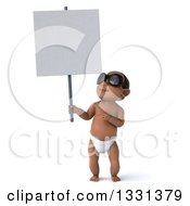 Clipart Of A 3d Black Baby Boy Wearing Sunglasses Holding Up And Pointing To A Blank Sign Royalty Free Illustration