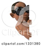 Clipart Of A 3d Black Baby Boy Wearing Sunglasses And Looking Around A Sign Royalty Free Illustration