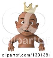 Clipart Of A 3d Black Baby Boy Wearing A Crown And Smiling Over A Sign Royalty Free Illustration