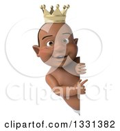 Clipart Of A 3d Black Baby Boy Wearing A Crown And Pointing Around A Sign Royalty Free Illustration