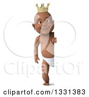 Clipart Of A 3d Full Length Black Baby Boy Wearing A Crown And Looking Around A Sign Royalty Free Illustration