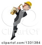 Clipart Of A 3d Young White Male Architect Facing Left Flying Looking Up And Playing A Saxophone Royalty Free Illustration