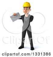Clipart Of A 3d Young White Male Architect Thinking And Holding An Envelope Royalty Free Illustration