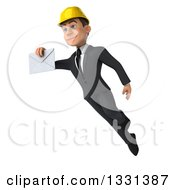 Clipart Of A 3d Young White Male Architect Flying And Holding An Envelope Royalty Free Illustration