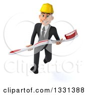 Clipart Of A 3d Young White Male Architect Sprinting With A Giant Toothbrush Royalty Free Illustration