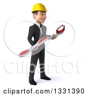 Clipart Of A 3d Young White Male Architect Facing Right And Holding A Giant Toothbrush Royalty Free Illustration