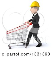 Clipart Of A 3d Young White Male Architect Walking To The Left With A Shopping Cart Royalty Free Illustration