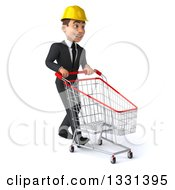 Clipart Of A 3d Young White Male Architect Walking Slightly To The Right With A Shopping Cart Royalty Free Illustration