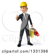 3d Young White Male Architect Giving A Thumb Up And Holding Shopping Bags