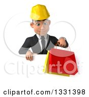 3d Young White Male Architect Holding Shopping Bags And Looking Down Over A Sign