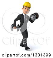 Clipart Of A 3d Young White Male Architect Walking To The Right And Working Out With Dumbbells Royalty Free Illustration